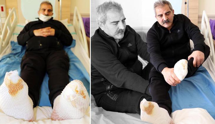Erzurum'da inanılmaz olay! Araçta giderken ayakları dondu…