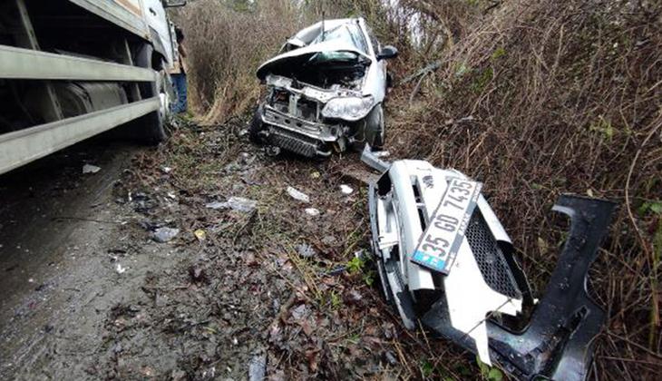 Sarıyer'de feci kaza! Otomobil ve kamyon kafa kafaya çarpıştı: bir kişi hayatını kaybetti