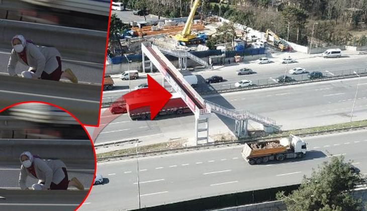 İstanbul'da inanılmaz görüntü! Üst geçit yolun ortasına iniyor