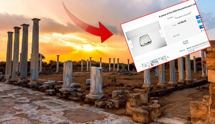 KKTC'deki Salamis harabelerine ait mermerler Rum Kesimi'nde online üzerinden satışa çıkarıldı