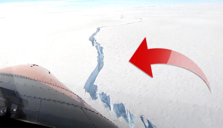 Antarktika'da inanılmaz görüntü! Büyük bir buzul kopma noktasına geldi...