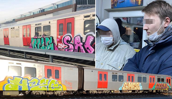 Ankara'da şaşkına çeviren olay! Rus gençler metro trenini boyarken yakalandılar