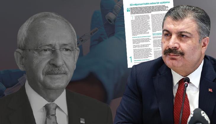 Son dakika haberi: Bakan Koca'dan Kılıçdaroğlu'nun bedava koronavirüs aşısı iddiasına sert tepki: 'Kötü niyetli yaklaşımı meşru göremeyiz'