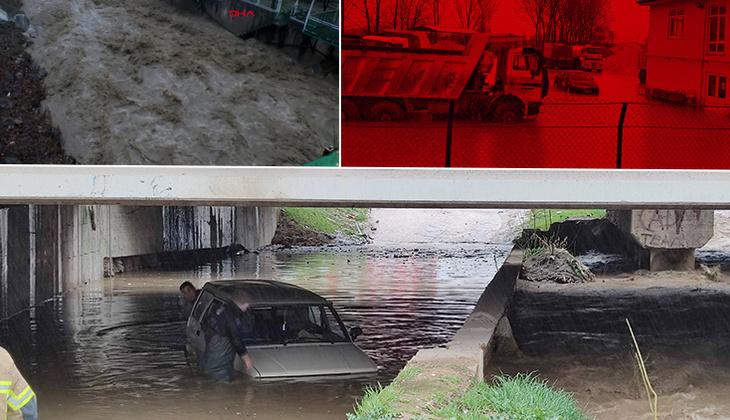 Bursa'da zor anlar! Şiddetli yağış hayatı felç etti
