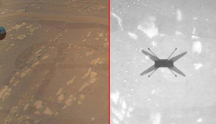 NASA'nın Mars'a indirdiği mini helikopter Ingenuity ilk fotoğraflarını gönderdi