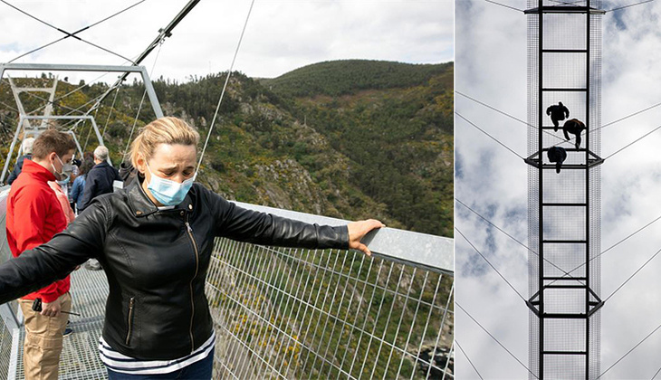 Üzerinde yürüyenler korkudan ağladı... Dünyanın en uzun asma köprüsü açıldı