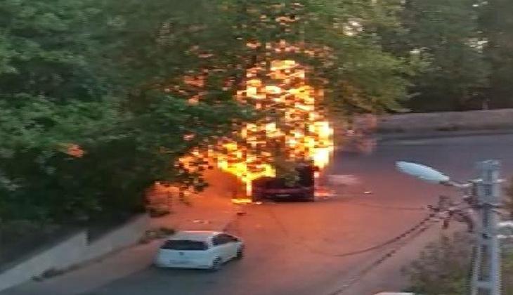 İstanbul'da korku dolu anlar! Halk otobüsü alev alev yandı