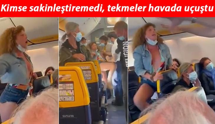 Uçakta inanılmaz anlar... Kadın yolcu maske kavgasında rezalet çıkardı!