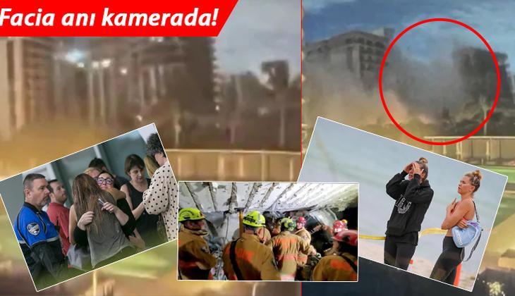 ABD'de büyük facia... Miami'de binanın çökme anı kameralara yansıdı, enkaz altında kalanların yakınları çaresizce haber bekliyor!