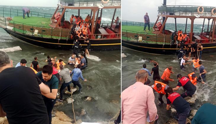 Van Gölü'nde gezi teknesinde büyük panik! Yolcular halatlarla kurtarıldı