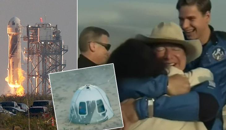 Son dakika: İşte ilk görüntüler! Kapsül dünyaya indi... Jeff Bezos'un uzay yolculuğu başarıyla tamamlandı