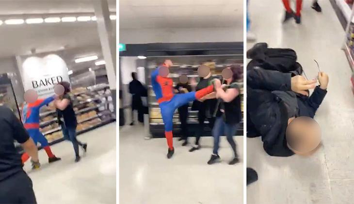 Sosyal medya bu görüntüleri konuşuyor... Örümcek Adam dehşet saçtı!