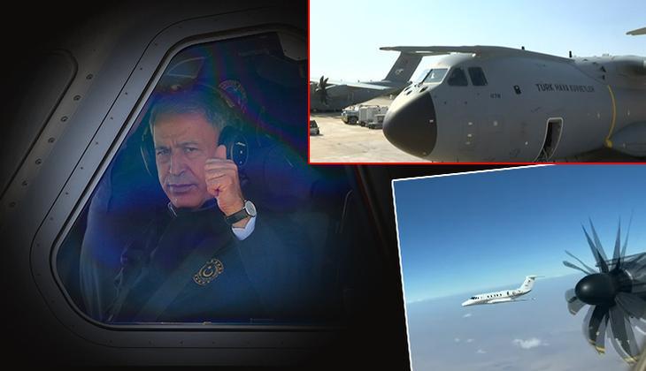 Son dakika: Milli Savunma Bakanı Akar, 'Koca Yusuf'un kokpitinde... 'Esen 01'den pilotlara mesaj