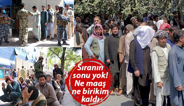 Afganistan'da şimdi de nakit çilesi başladı... Çaresiz halk banka önlerinde kuyruklar oluşturmaya devam ediyor