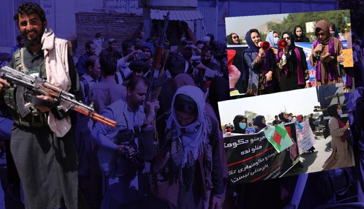 Kabil'de şaşırtan görüntü! Kadınlar sokağa döküldü...