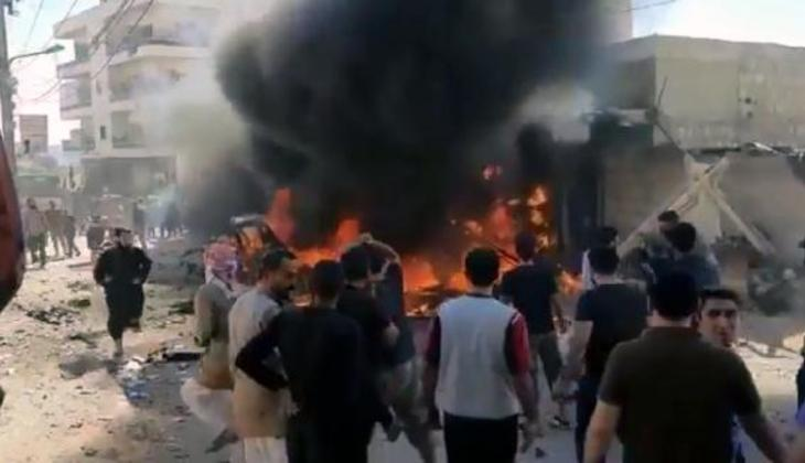 Afrin'de park halindeki araç patlatıldı: 3 ölü, 6 yaralı