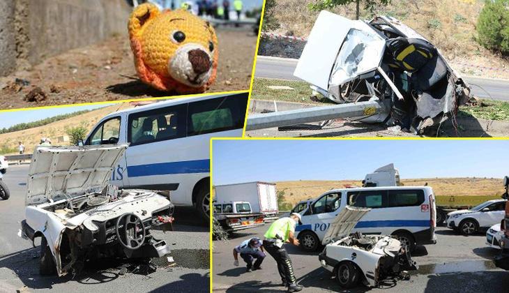 Gaziantep'te feci kaza! Direğe çarpan otomobil ikiye bölündü: 2 ölü, 2 yaralı