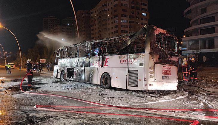 Ankara'da korkunç kaza! Kaza yapan otobüs alev aldı: 1 ölü, 20 yaralı