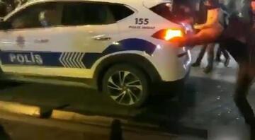 Kadıköyde polis aracını taşlayan 8 kişiden 5i yakalandı