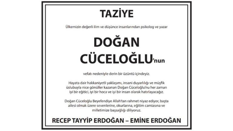 Erdoğan çiftinden Doğan Cüceloğlu için taziye mesajı