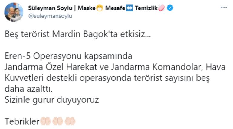 Bakan Soylu duyurdu: Beş terörist Mardin Bagokta etkisiz...