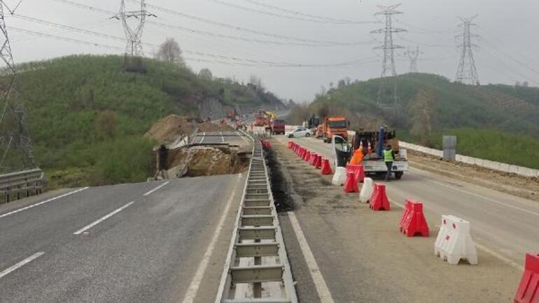 85 metrelik bölüm çökmüştü Yol ulaşıma açıldı