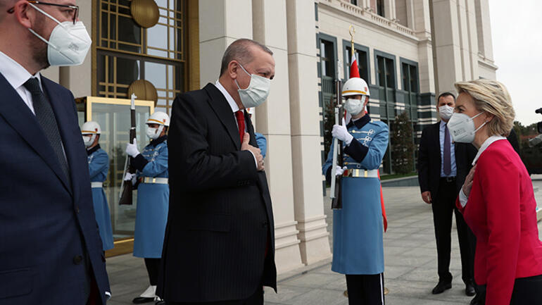 Cumhurbaşkanı Recep Tayyip Erdoğan, AB heyeti ile görüşüyor