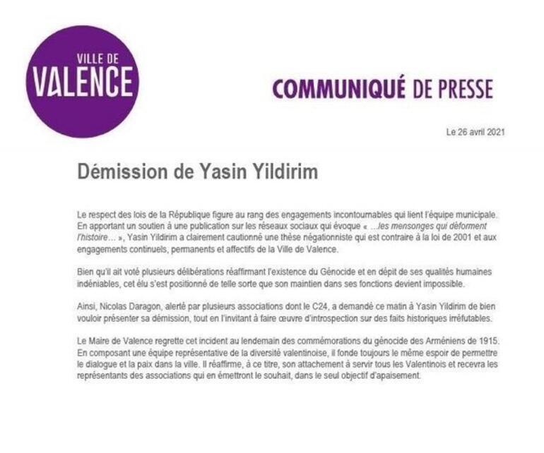Fransada Türk meclis üyesi, ASALA'yı kınayan iletiyi beğendiği için zorla istifa ettirildi