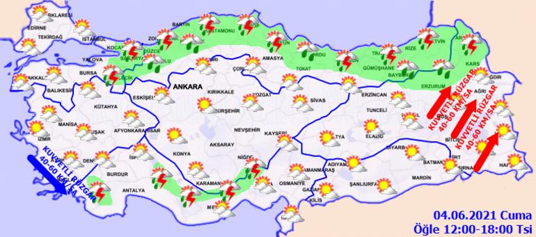 Hava durumu nasıl olacak Meteoroloji 4 Haziran il il hava durumu raporu 2 il için kuvvetli yağış uyarısı