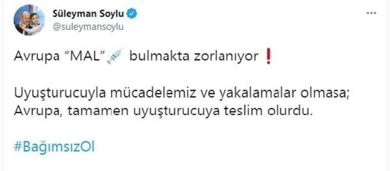 Son dakika: İçişleri Bakanı Soylu: Mücadelemiz olmasa Avrupa uyuşturucuya teslim olurdu