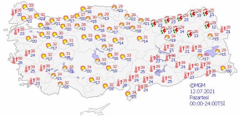 Pazartesi hava nasıl olacak İşte 12 Temmuz il il hava durumu tahminleri