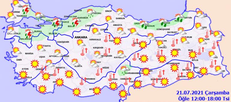 Yarın hava nasıl olacak Meteorolojiden sağanak yağış uyarısı - İşte MGM 21 Temmuz İstanbul, Ankara, İzmir ve il il hava durumu