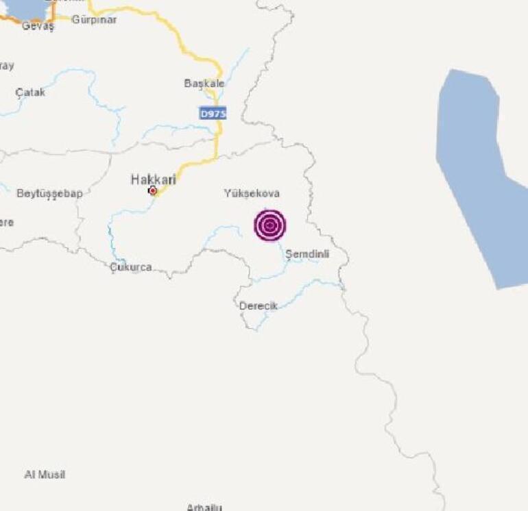 Son dakika Hakkari Yüksekovada 3.9 büyüklüğünde deprem