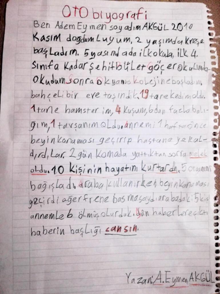 Ağlattın bizi Eymen Okulun ilk günü bu satırları yazdı: Annem melek oldu